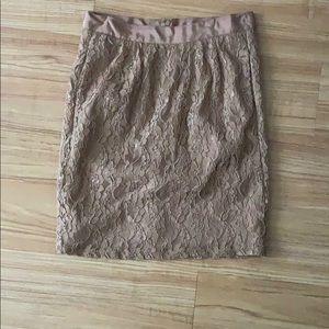 Tan lace overlay pencil midi skirt - Love 21 - S